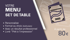 Je créé votre menu, set de table, carte des vins