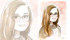 Portrait original à l'aquarelle style BD/Manga