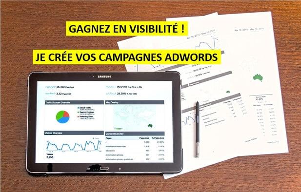 Je crée, gère et optimise vos campagnes Adwords