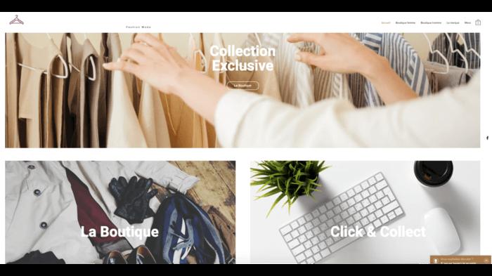 Site e-commerce, sur wix